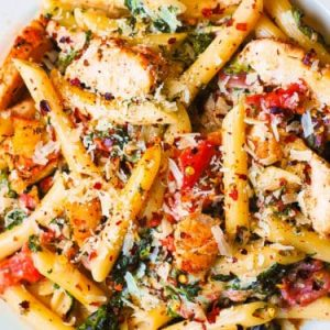 Chicken and Bacon Pasta with Spinach.