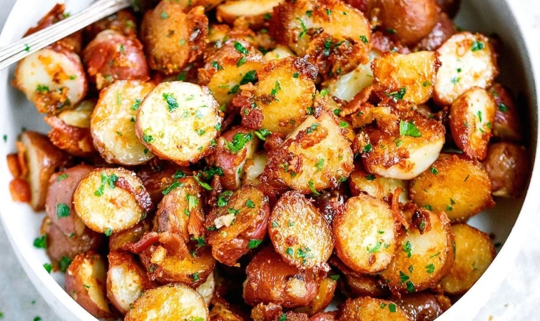 Roasted Garlic Butter Parmesan Potatoes Are Crispy and Golden