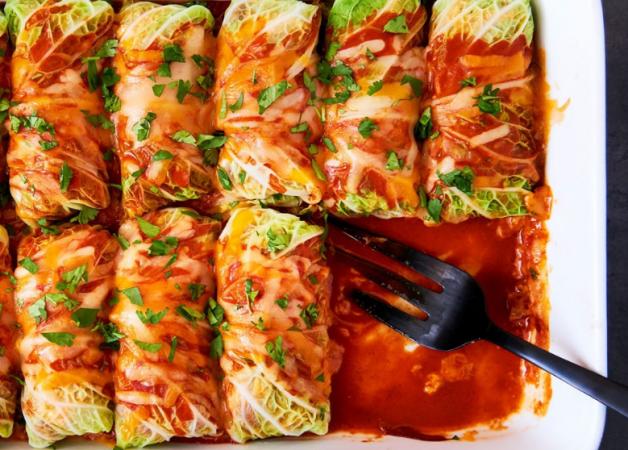 Cabbage Roll Chicken Enchiladas