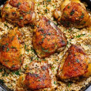 Buttery Garlic Herb Chicken with Rice