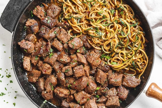 Garlic Butter Steaks and Noodles