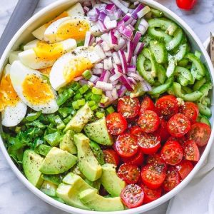 Avocado Salad With Tomato, Eggs, and Cucumber