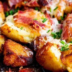 Smashed Roast Potatoes With Bacon