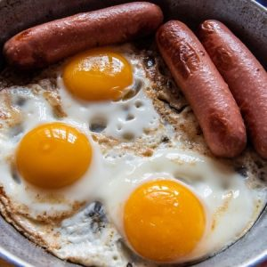 Fried Egg and Sausage For Breakfast