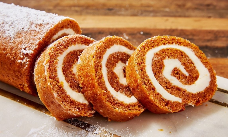 Carrot Cake Roll With Cream Filling