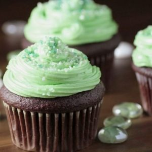 Chocolate Cupcakes with Mint Frosting