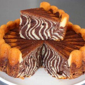 Eggless Zebra Cake
